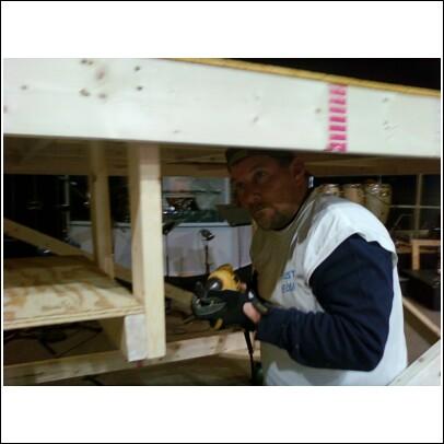 Craig Hubbard building the set